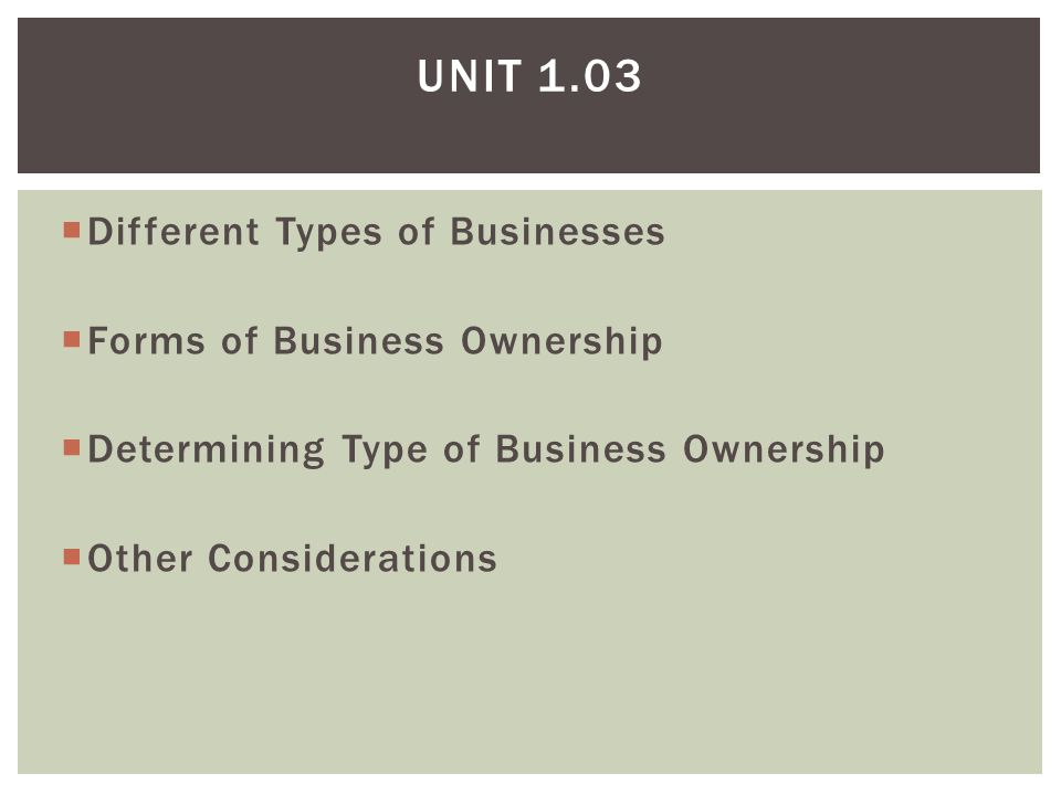 forms of ownership