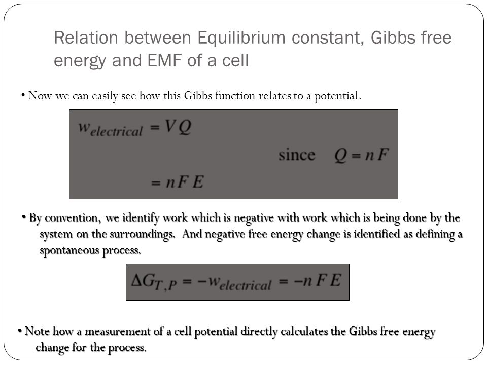 negative gibbs free energy