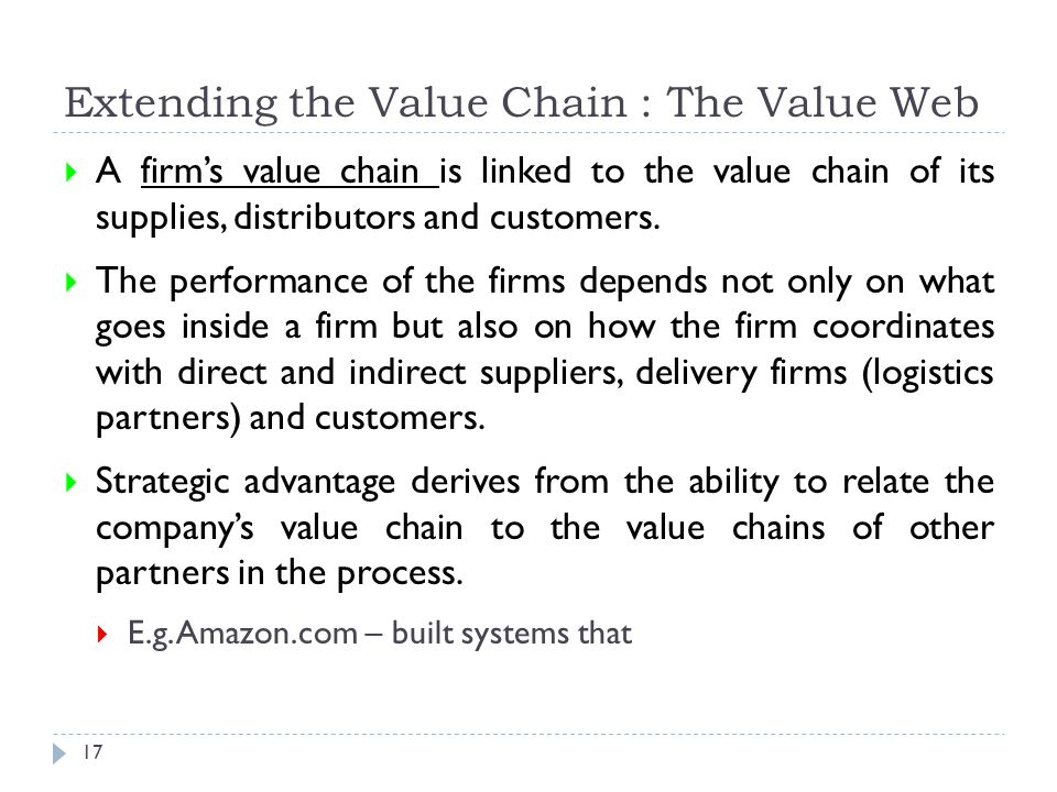 Extending the Value Chain : The Value Web