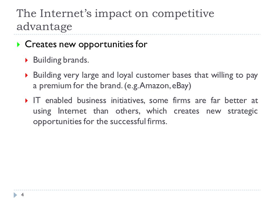 The Internet's impact on competitive advantage