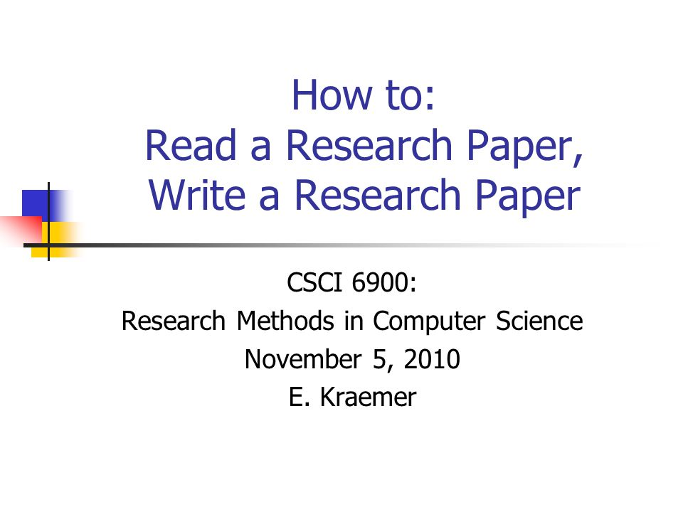 How to write research papers in computer science