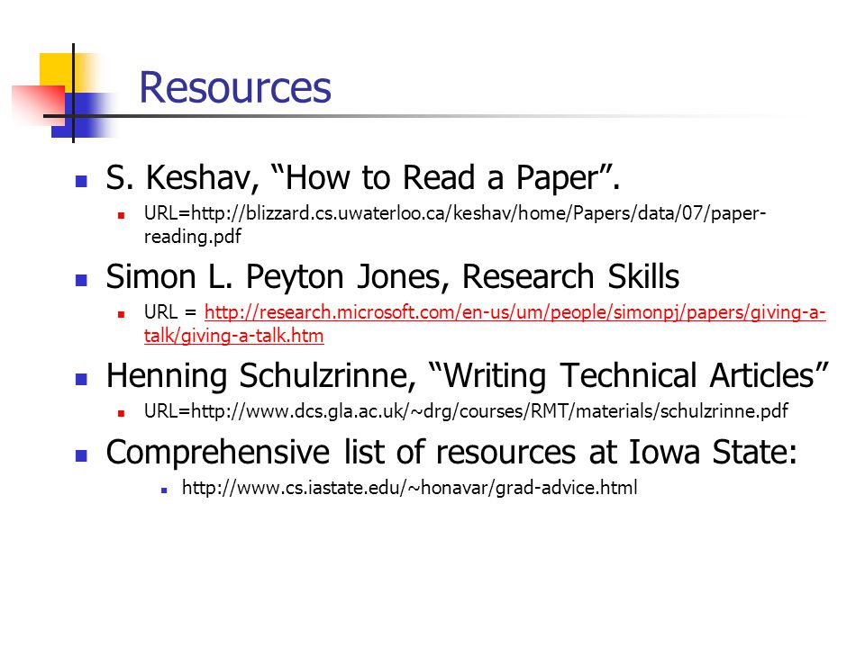 resources for research papers