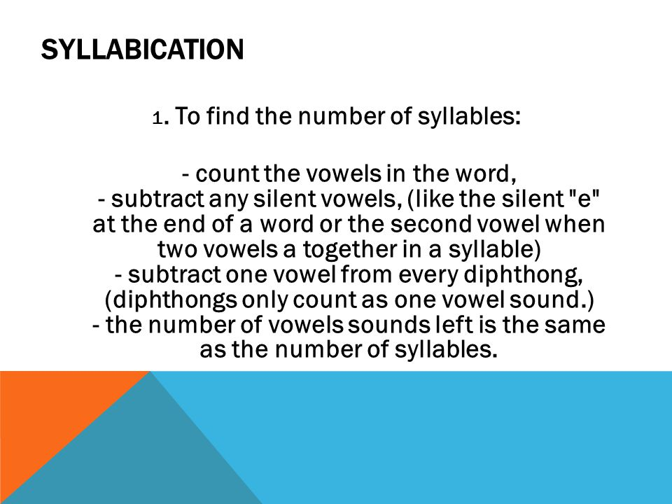 1. To find the number of syllables: