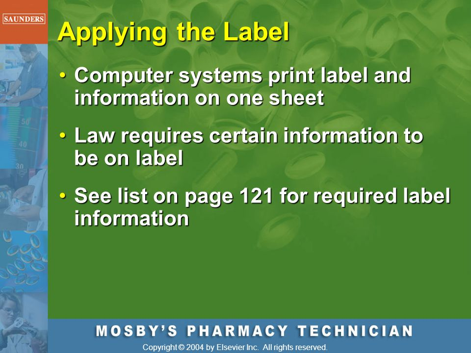 Applying the Label Computer systems print label and information on one sheet. Law requires certain information to be on label.