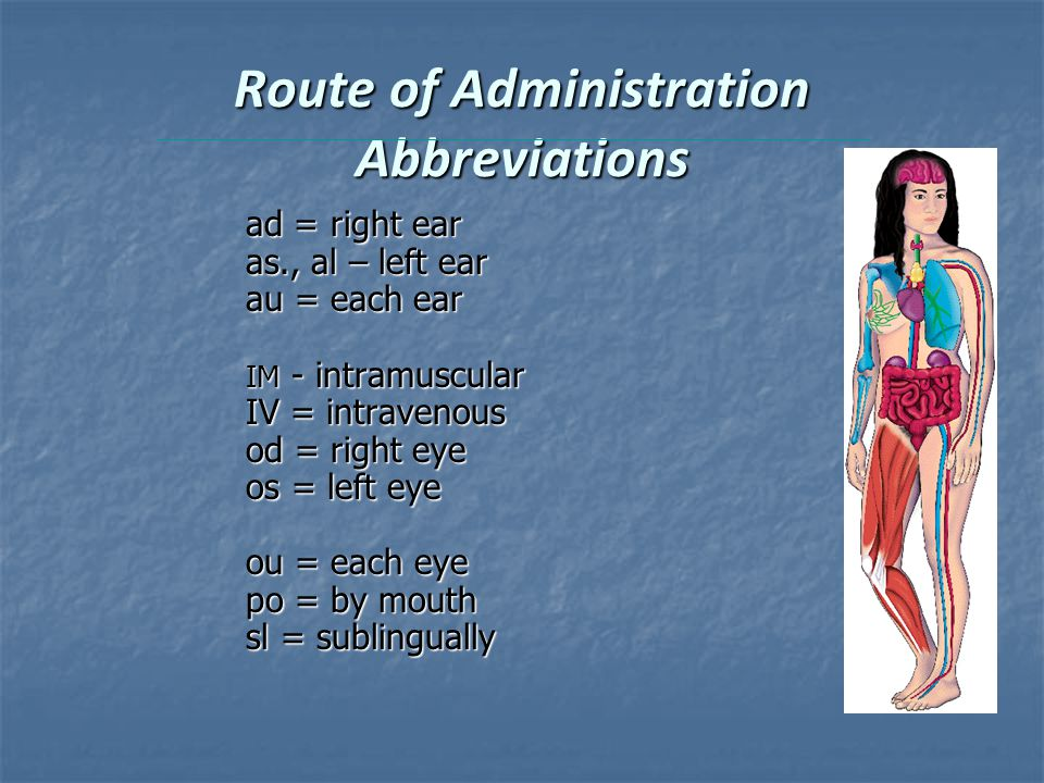 Route of Administration Abbreviations