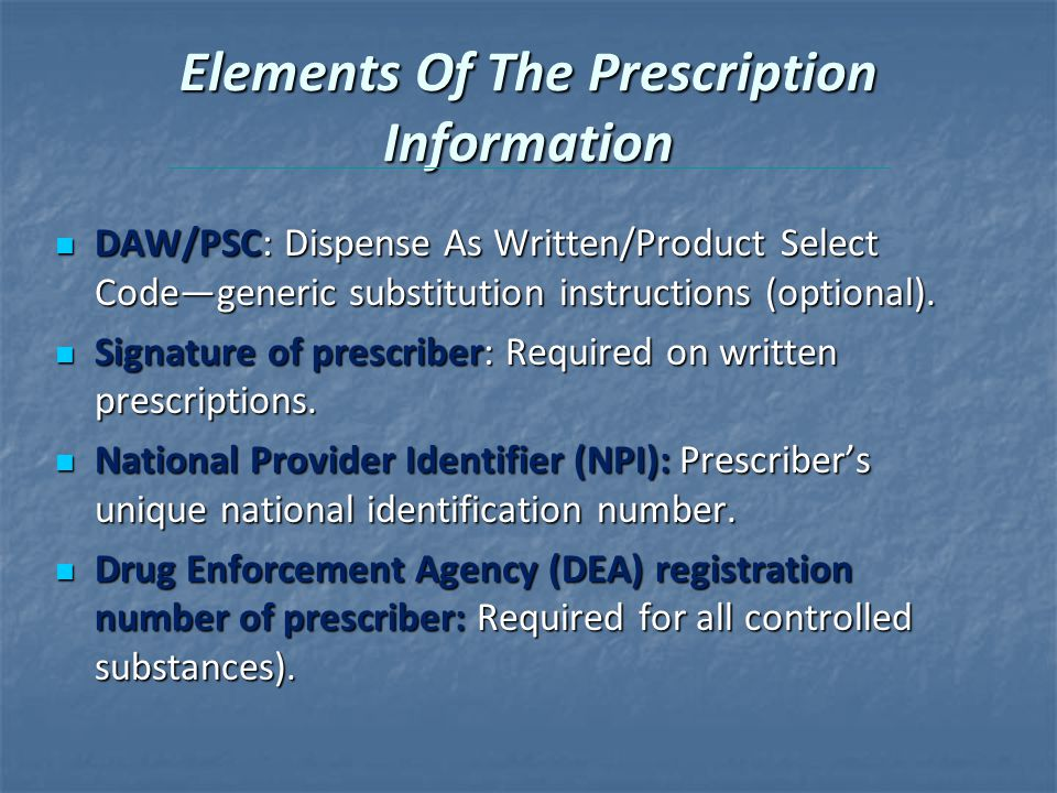 Elements Of The Prescription Information