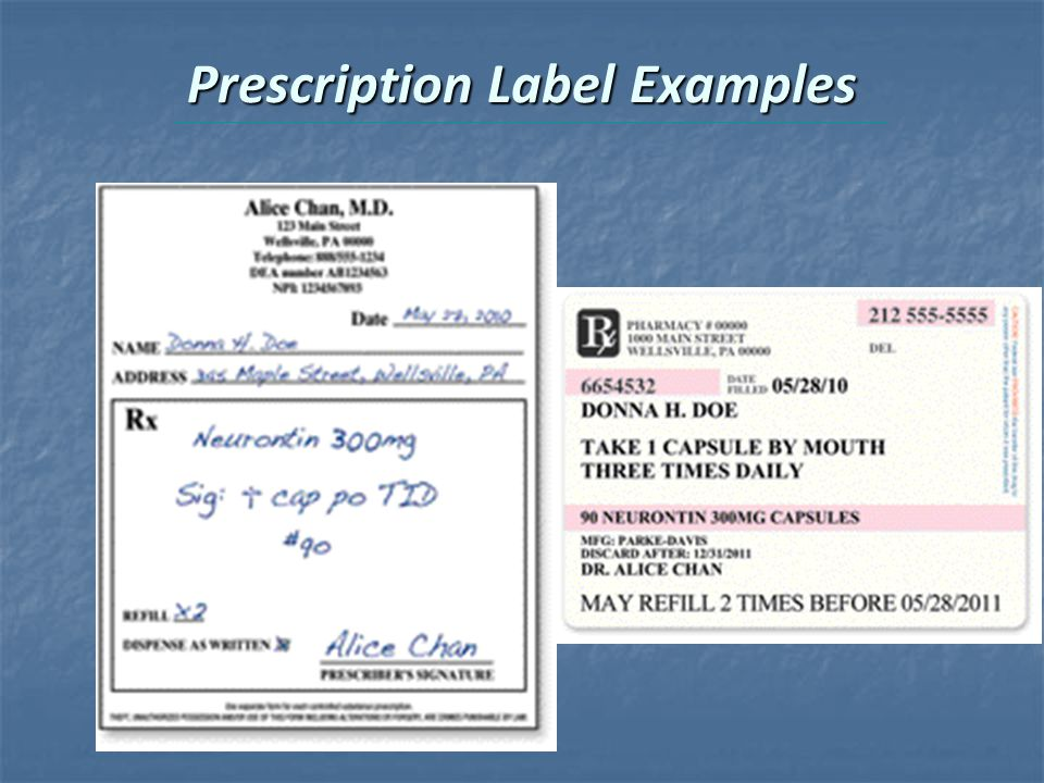 Prescription Label Examples