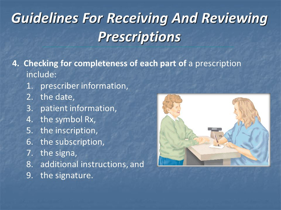 Guidelines For Receiving And Reviewing Prescriptions