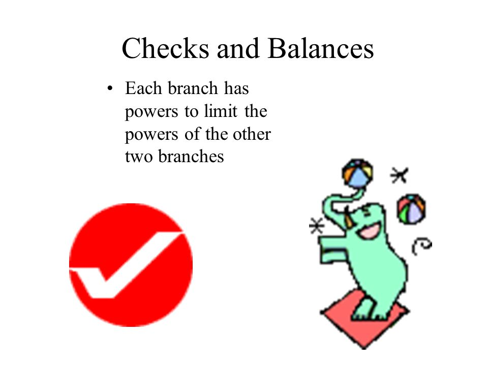 Checks and Balances Each branch has powers to limit the powers of the other two branches