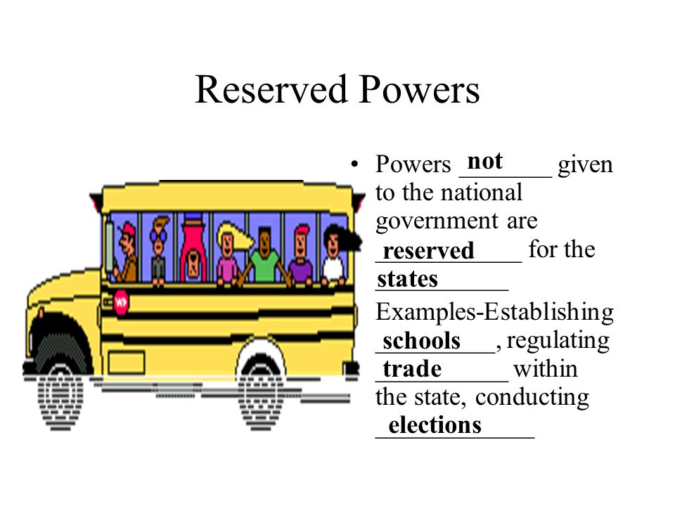 Reserved Powers not. Powers _______ given to the national government are ___________ for the __________.