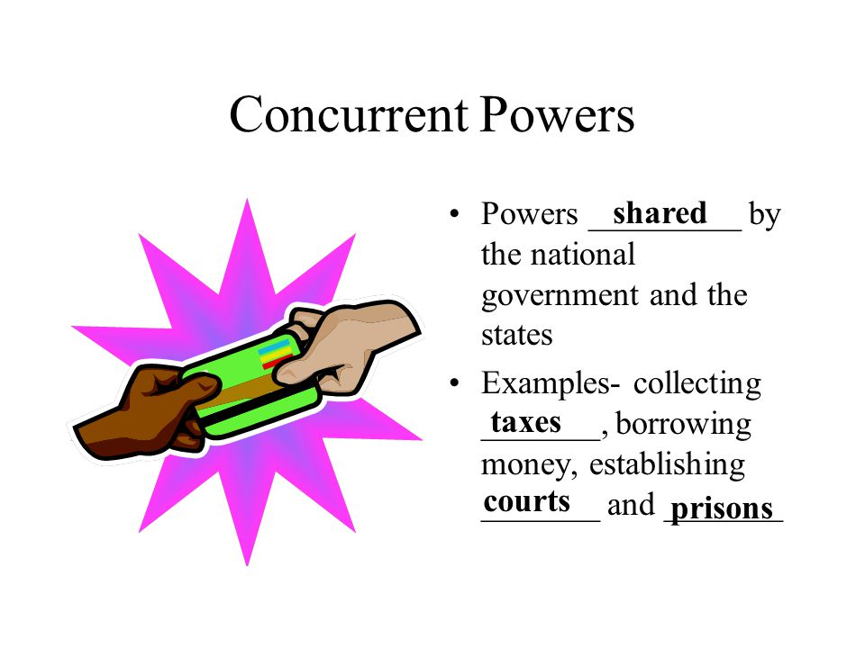 Concurrent Powers Powers _________ by the national government and the states.