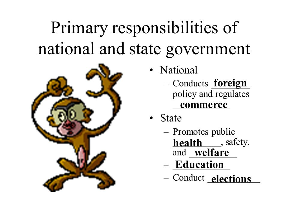 Primary responsibilities of national and state government