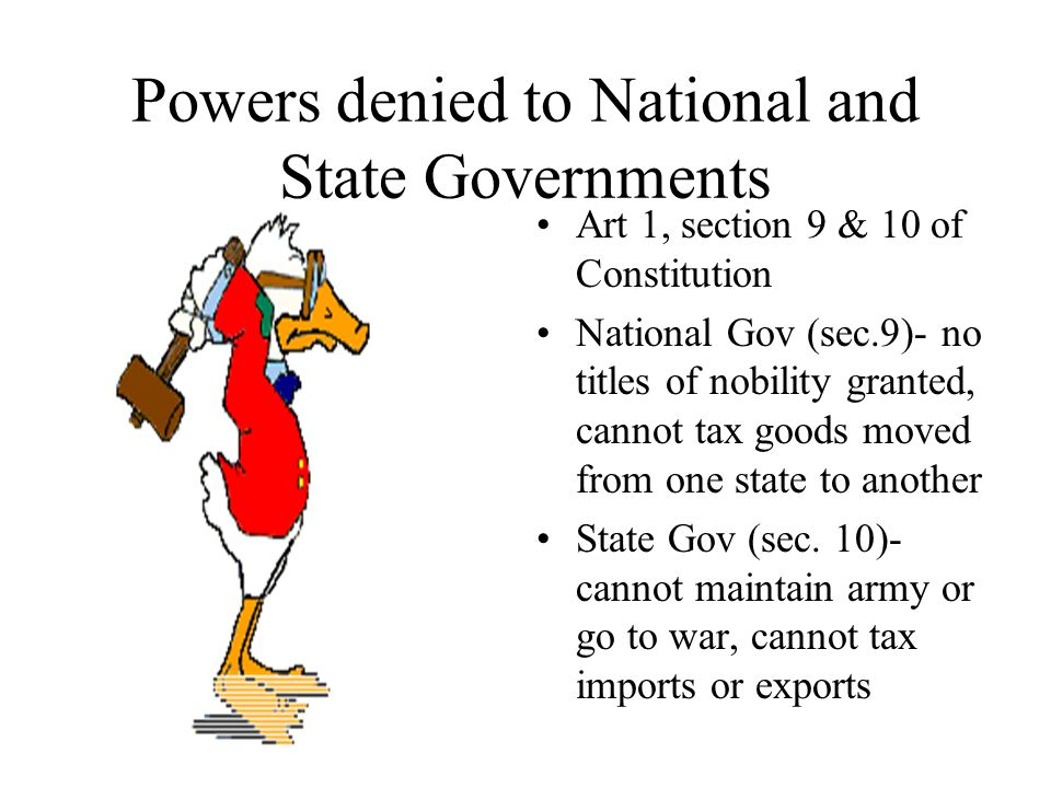 Powers denied to National and State Governments