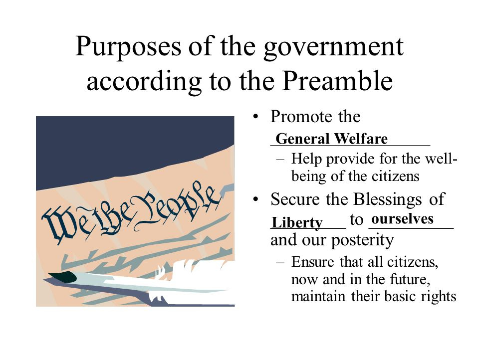 Purposes of the government according to the Preamble