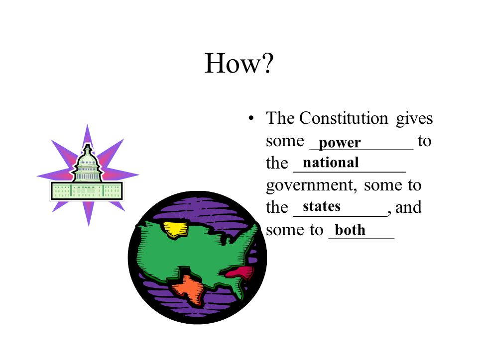 How The Constitution gives some ___________ to the ____________ government, some to the __________, and some to _______.
