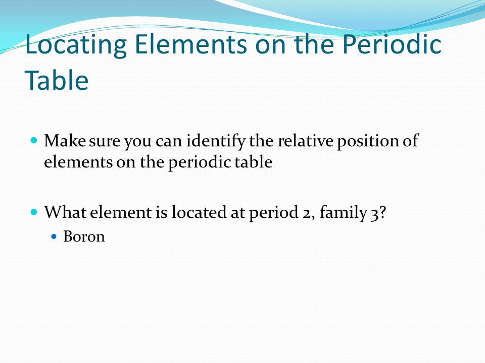 Elements are the building blocks of matter ppt video for Table th position relative