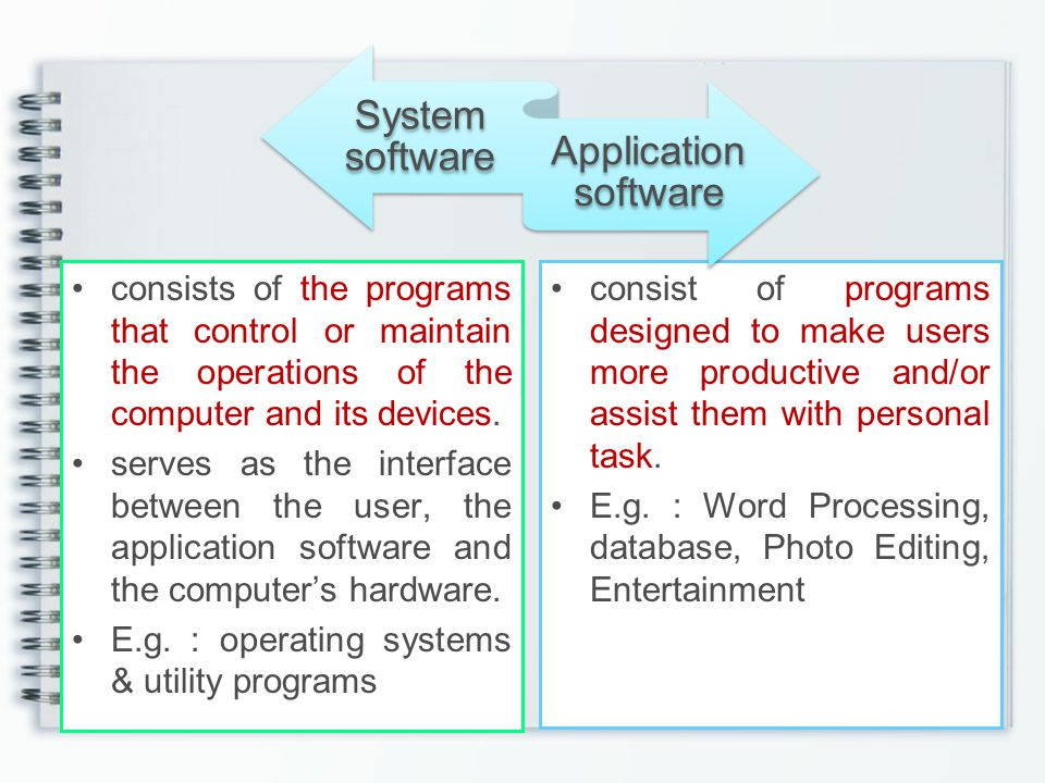 E.g. : operating systems & utility programs