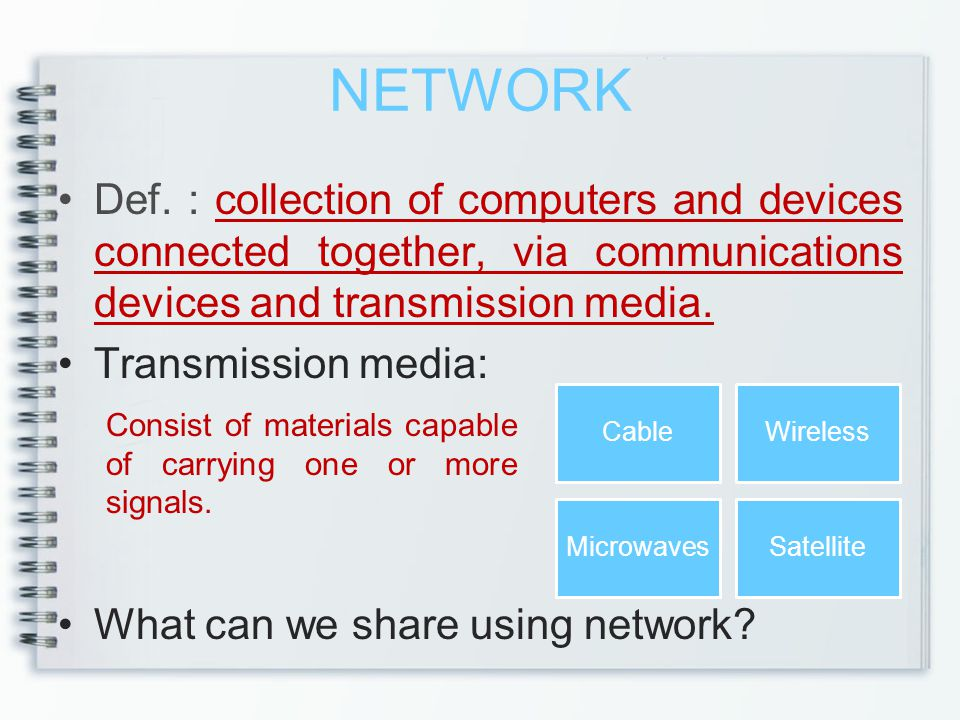 NETWORK Def. : collection of computers and devices connected together, via communications devices and transmission media.