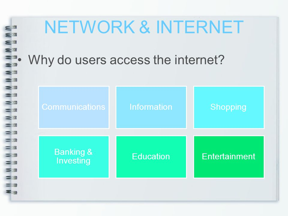 NETWORK & INTERNET Why do users access the internet Communications
