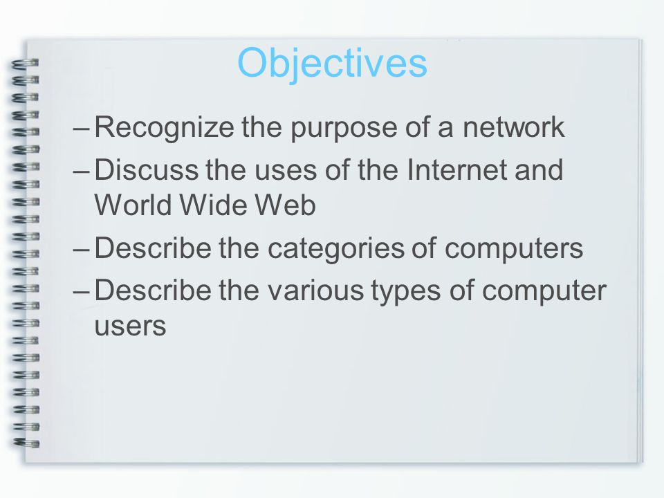 Objectives Recognize the purpose of a network