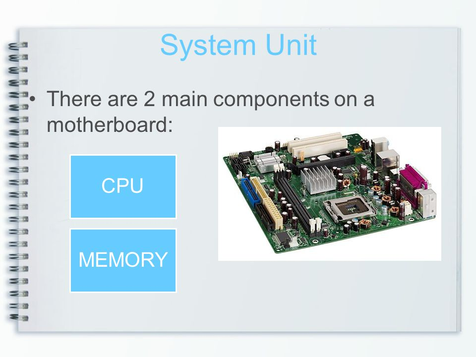 System Unit There are 2 main components on a motherboard: CPU MEMORY