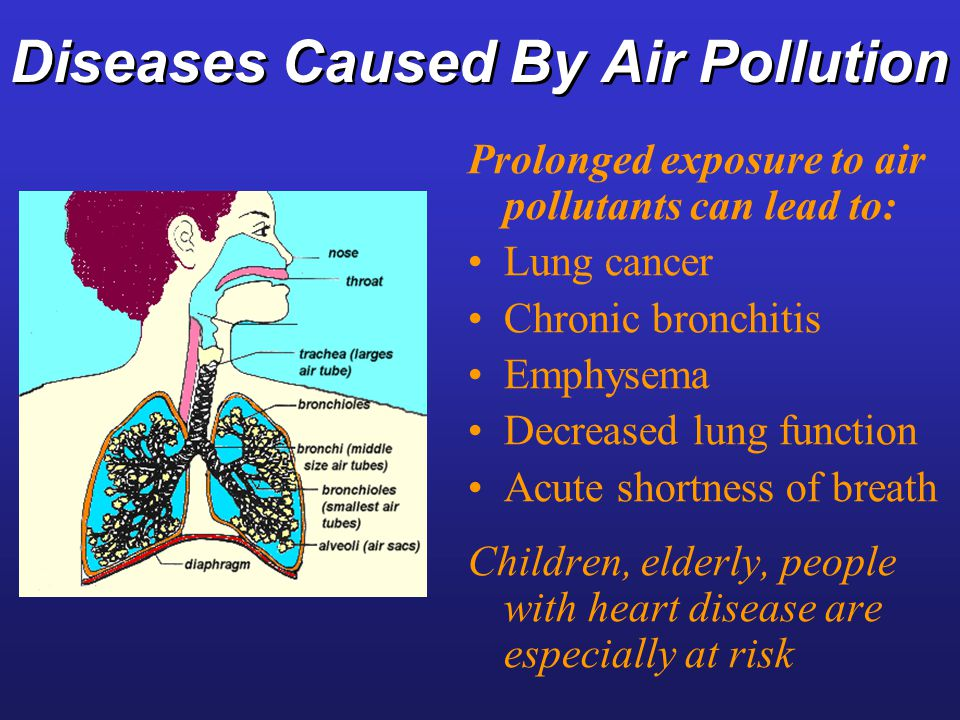 the problems caused by air pollution Air pollution causes a range of short-term respiratory symptoms, including  coughing,  chemicals in the air that can cause cancer and other health  problems.