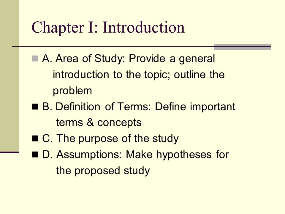 parts of a research paper definition of terms
