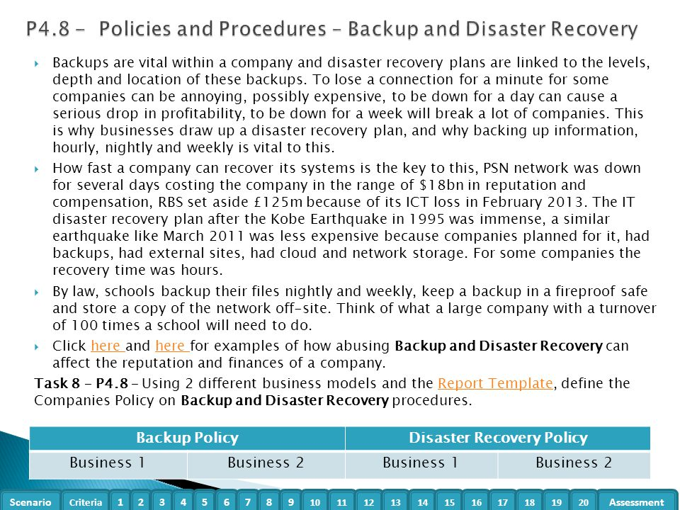 Organisational systems security t 601 7312 level 3 unit 5 for Disaster recovery procedures template