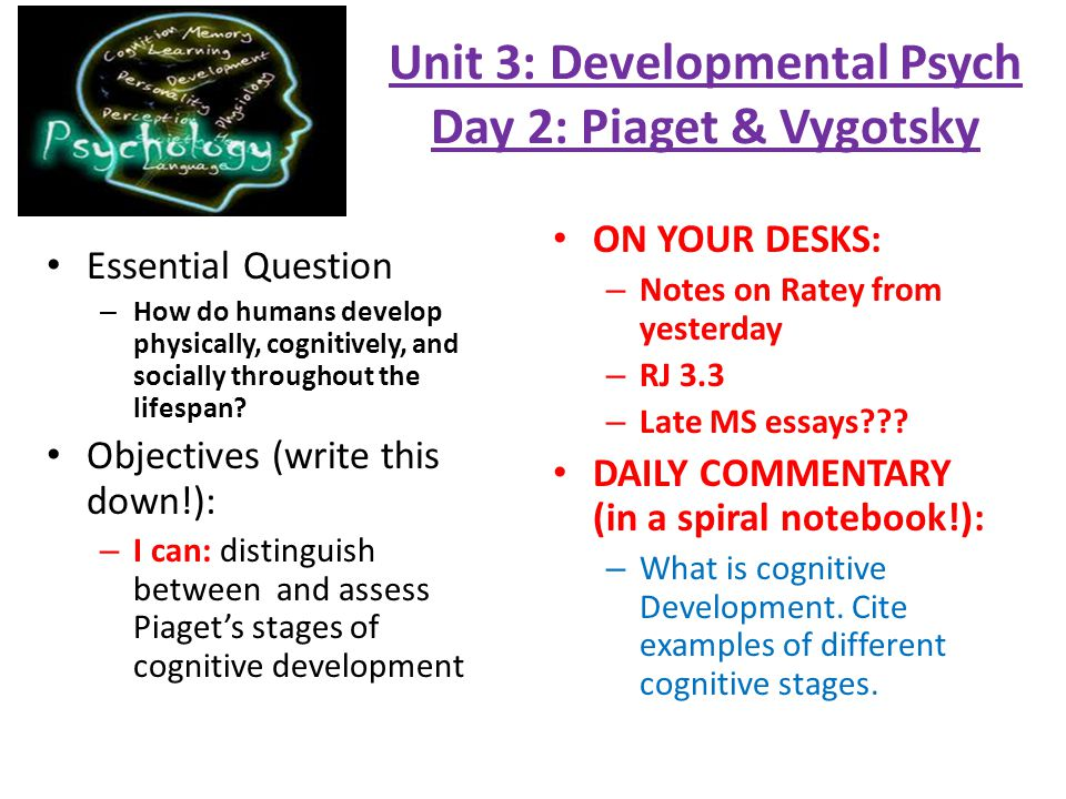 essays on cognitive development The cognitive development of a child is about the construction and development of a mental model of the world a mental model of a world is really important for humans, because without it we can't use any information from our past experience, or plan any future actions.