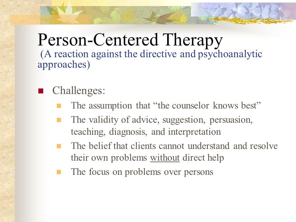 the person centred therapy essay Check out this effectiveness of person-centered therapy essay paper buy exclusive effectiveness of person-centered therapy essay cheap order effectiveness of person-centered therapy essay from $1299 per page.