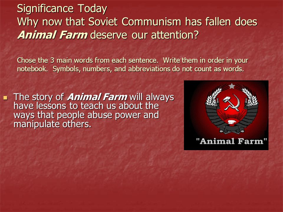 a parody of soviet communism in animal farm by george orwell Which was banned in soviet bloc countries but circulated illegally 'animalism' is a parody of communism animal farm - by george orwell.