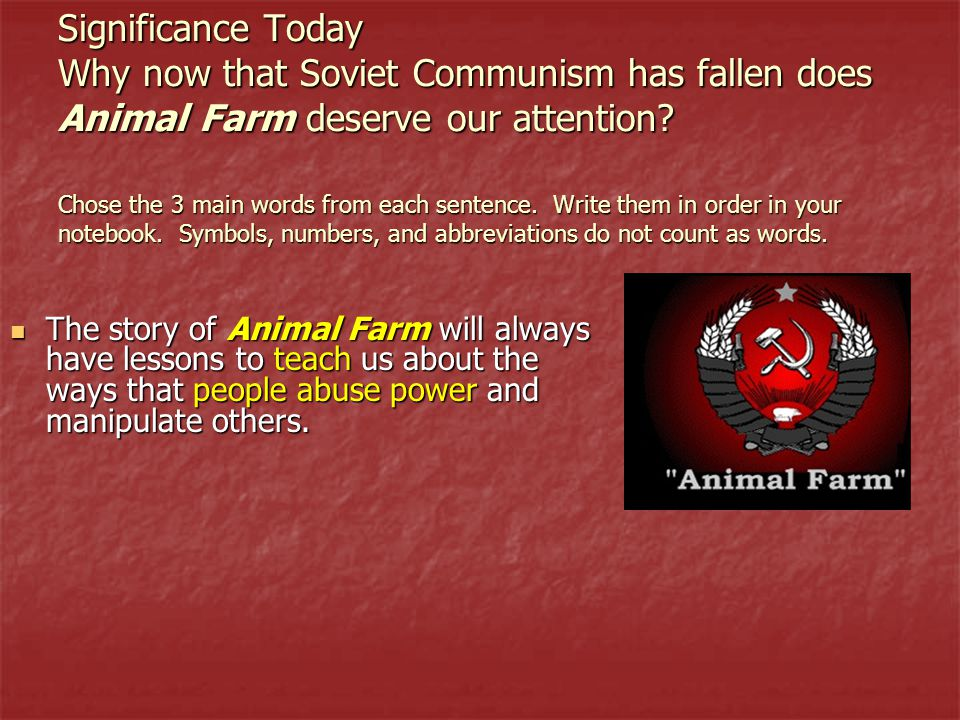 the stories of greed and power abuse in george orwells animal farm Often mistaken for a children's story, animal farm is also a powerful allegory  purchased the film rights to animal farm from george orwell's widow soon after his death.