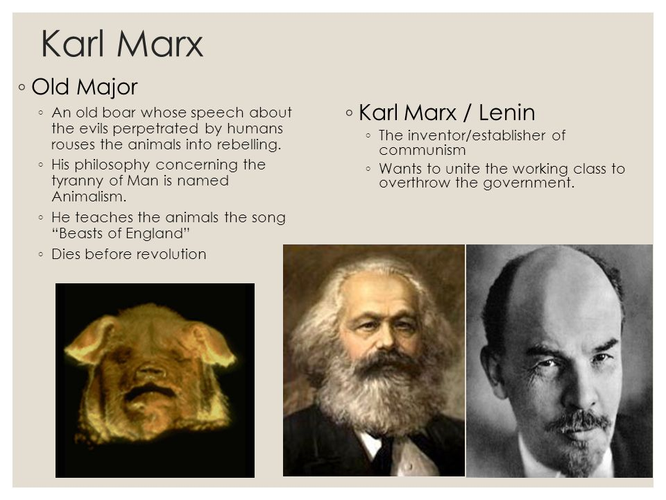 animalism and marxism in the works of george orwell and karl marx Karl marx, who was born in george orwell has been successful in drawing the connections between old major and karl marx, because their ideologies (animalism vs.