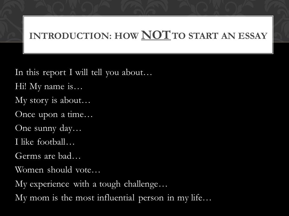 how to start an essay introduction about music Start with interesting statements: you can also start the introduction of your article with an interesting statement while this statement doesn't necessarily need to be a fact, or quote, it makes people want to read your article to know the reason behind you using the statement.