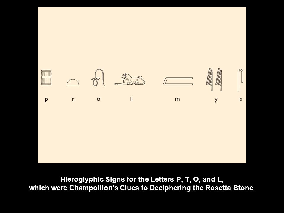 Hieroglyphic Signs for the Letters P, T, O, and L, which were Champollion s Clues to Deciphering the Rosetta Stone.