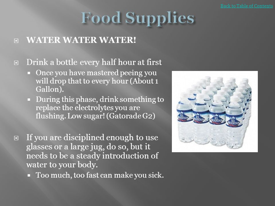 Food Supplies WATER WATER WATER!