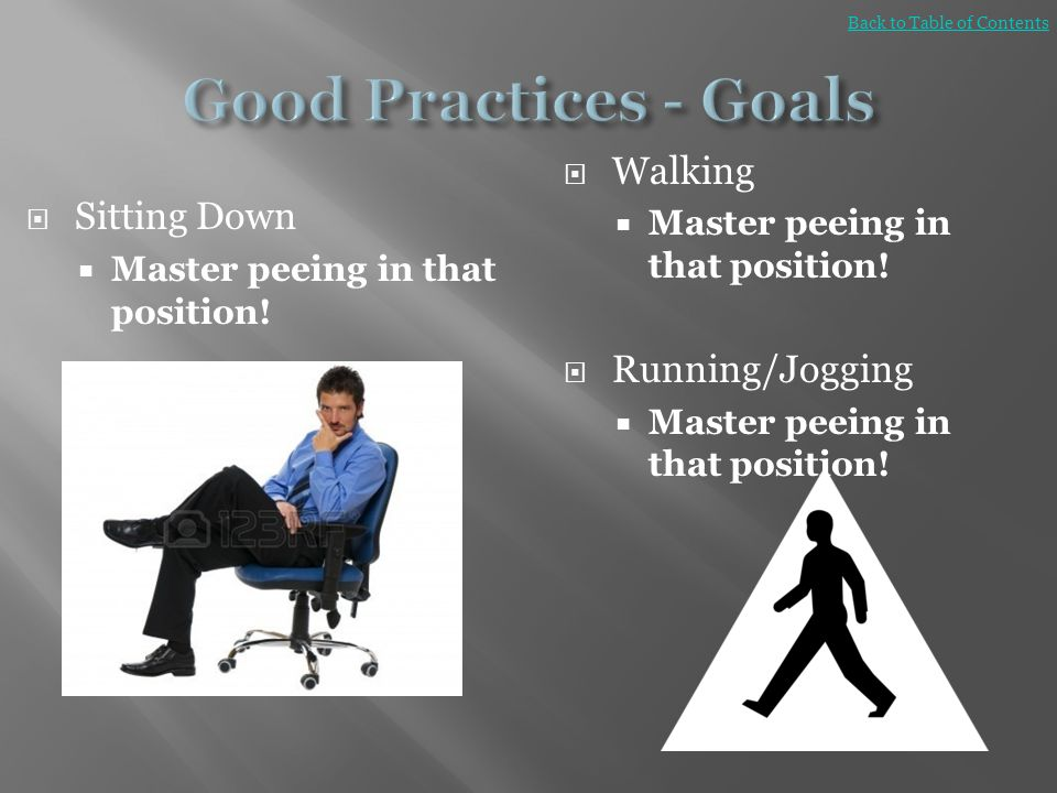 Good Practices - Goals Walking Sitting Down Running/Jogging