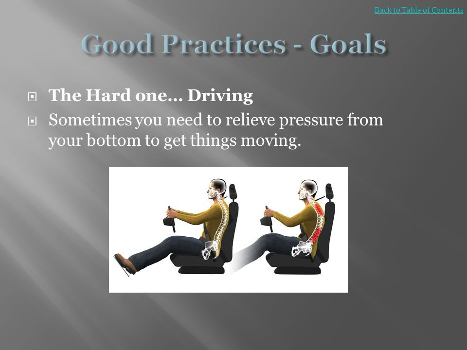 Good Practices - Goals The Hard one… Driving