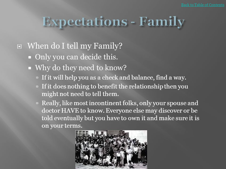 Expectations - Family When do I tell my Family