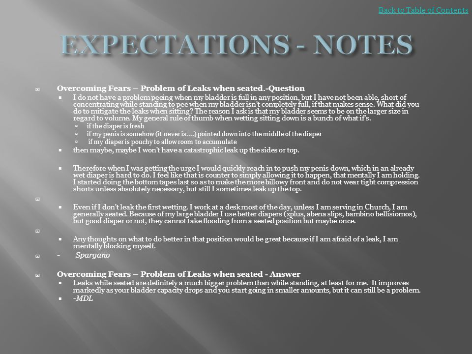 EXPECTATIONS - NOTES Back to Table of Contents