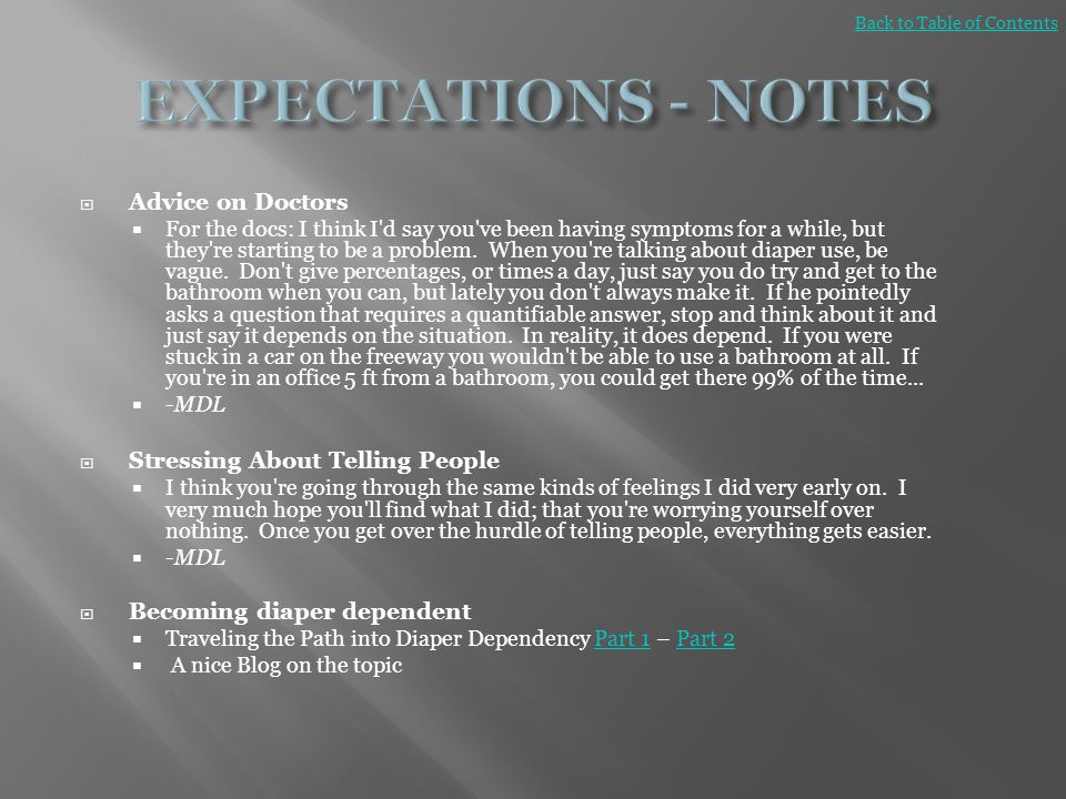 EXPECTATIONS - NOTES Advice on Doctors Stressing About Telling People