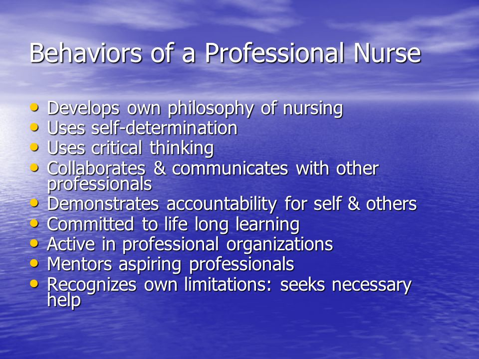 "professional behavior in nursing Nursing has increased the number of nurses with doctorates, but  journal of  professional nursing, entitled ""reflections on  this ""altruistic"" behavior is not."