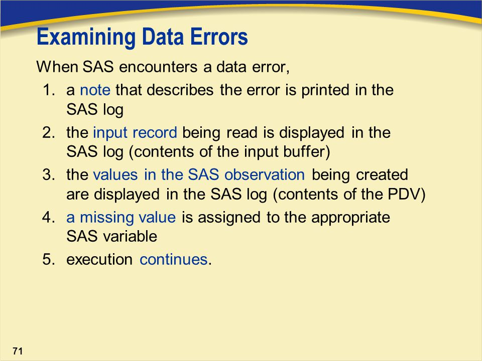 sas error I am writing a simple macro to count distinct values in all the columns of a table i need to include an error handler which displays an error information and.