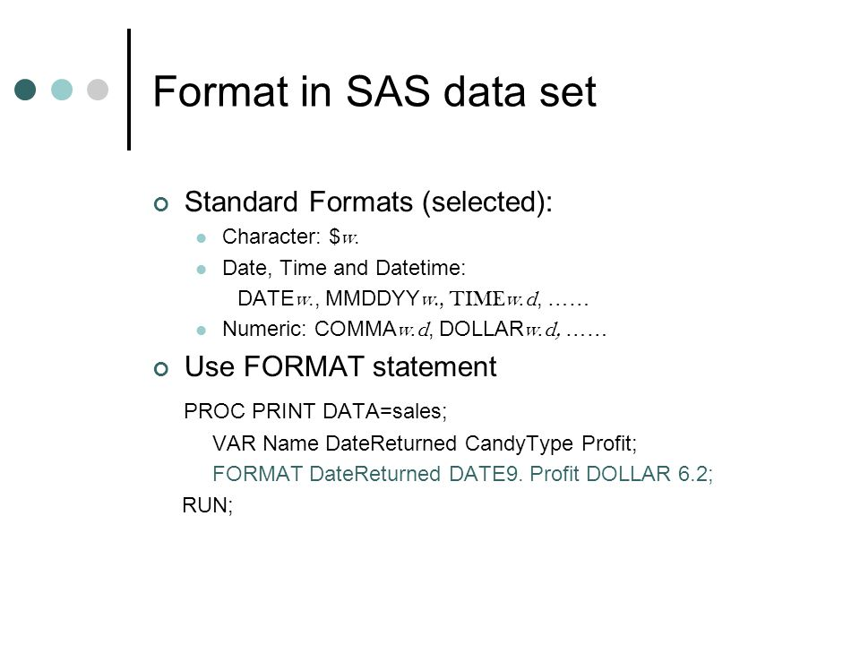 Sas date format