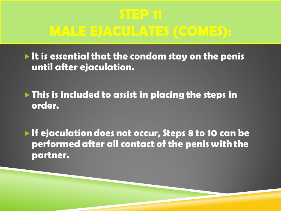 Step 11 Male ejaculates (comes):