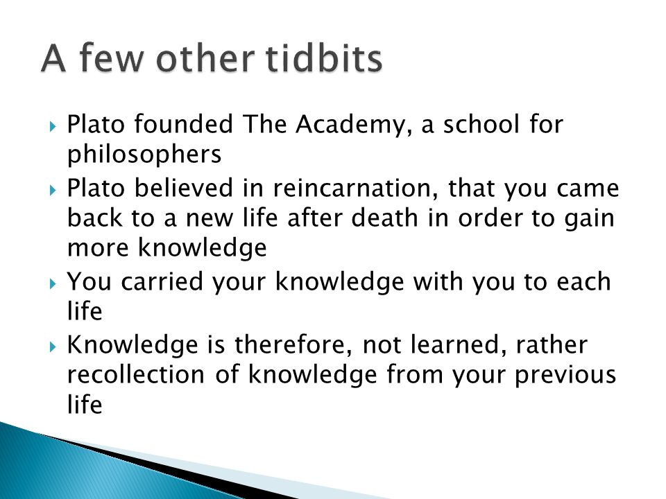 A few other tidbits Plato founded The Academy, a school for philosophers.
