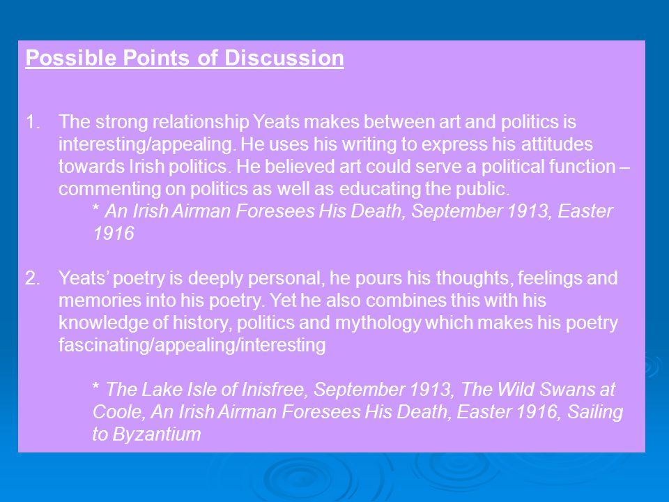 w b yeats essay plan poetry ppt video online 3 possible points of discussion