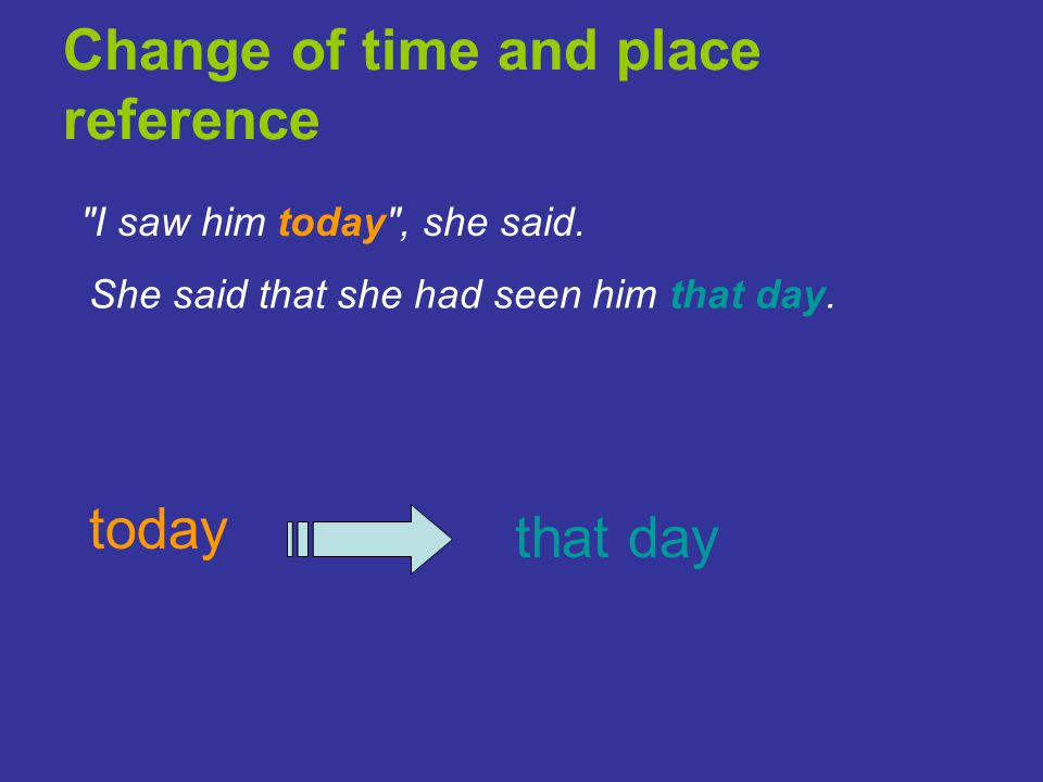 Change of time and place reference