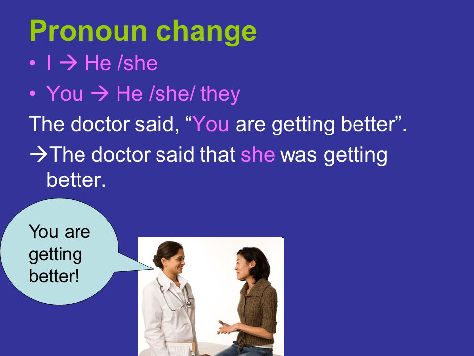 Pronoun change I  He /she You  He /she/ they