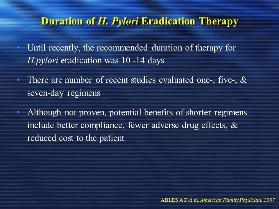 Duration of H. Pylori Eradication Therapy